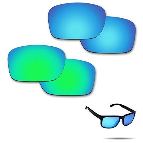 fiskr anti-saltwater Polarisierte Ersatz Gläser für Oakley Holbrook Sonnenbrille 2Paar verpackt, Ice Blue & Emerald Green