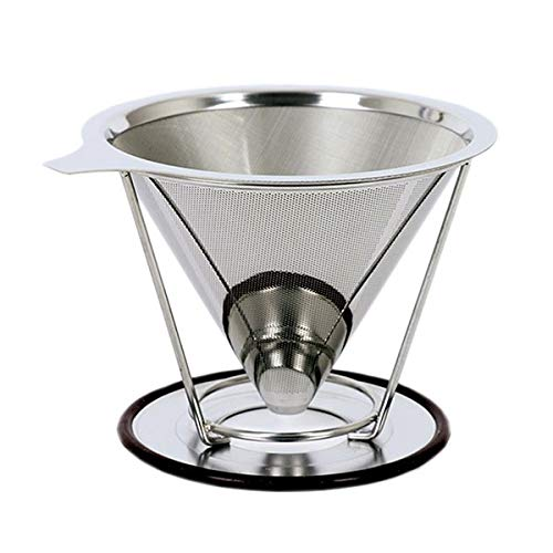 KITCHY Stainless Steel Coffee Drip Cone With Separate Stand Paperless Pour Over Coffee Maker Coffee Filter For Drip Coffee Maker 2-4Cup: Classical