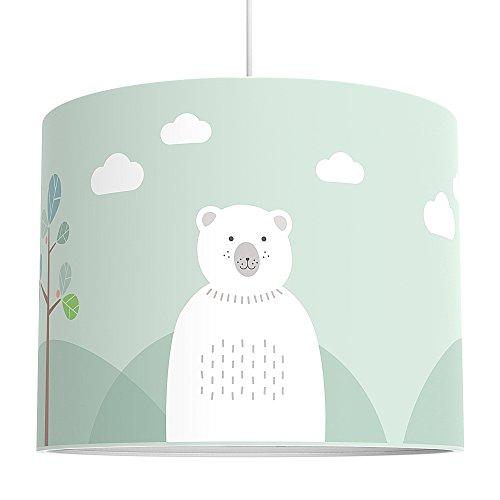 LALAVI Lampenschirm fürs Baby- und Kinderzimmer (Ø 40 cm) - Für Deckenlampe oder Stehlampe - Mit Liebe hergestellt in Deutschland (Mint)