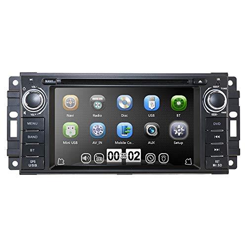 hizpo Auto GPS Navigator Autoradio-DVD-Player für Jeep Wrangler Chevrolet Dodge Chrysler Head Unit Einzel-Din 6,2-Zoll-Touchscreen Indash Radio 3G-Empfänger Bluetooth