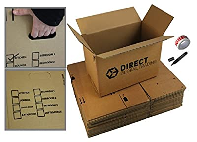 10 Strong Large Cardboard Storage Packing Moving House Boxes Double Walled with Fragile Tape and Black Marker Pen 18.8'' x 12.8'' x 10.4''