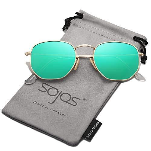 SOJOS Mode Polygon Sonnenbrille Damen Herren Verspiegelte Polarisiert Linse Leichte Unisex Brille SJ1072 (C9 Gold Rahmen/Grün Linse)