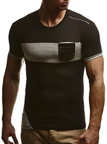 leif-nelson-herren-t-shirt-sweatshirt-slim-fit-ln780-grosse-xl-schwarz