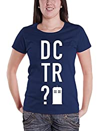 Doctor Who T Shirt DCTR? Block Capitals Logo offiziell damen Nue Navy Skinny Fit