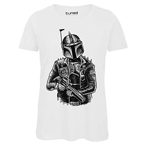 CHEMAGLIETTE! Shirt Divertente Donna Maglietta Cotone con Stampa Ironica Boba Punk Tuned Bianco