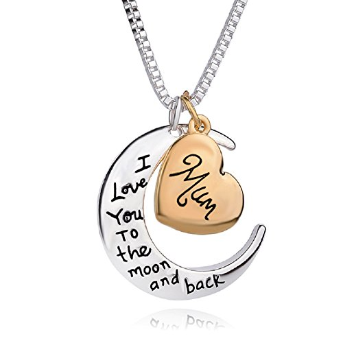 Chengmen Charms Jewellery Mom Geschenke für Mutter Tag Billig Halskette I Love You to The Moon and Back Mum Anhänger Halsketten 61 cm Kette