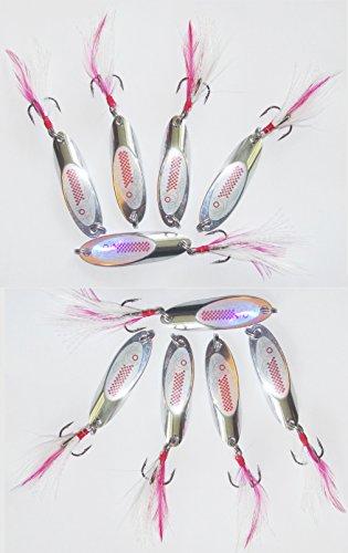 10er Sparset Hecht Köder Angel Blinker Set silber 15g Weitwurfblinker sind zum angeln von Hecht Barsch Meerforelle Forelle Zander mit diesem Blinker Spinner sind sehr weite Würfe möglich