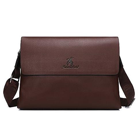 Leather Messenger Bag for Men,Unives PU Leather Briefcase Classic Shoulder Business Vintage Satchel Crossbody Bag for College School Office Travel Brown