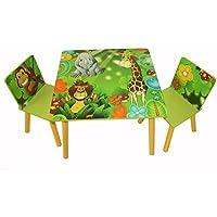 Homestyle4u 642 Kindersitzgruppe Dschungel Tiere , Kindermöbel Set aus 1 Kindertisch und 2 Stühle , Holz Grün