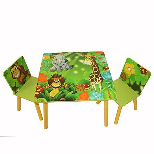 Homestyle4u 642 Kindersitzgruppe Dschungel Tiere , Kindermöbel Set aus 1 Kindertisch und 2 Stühle , Holz Grün -