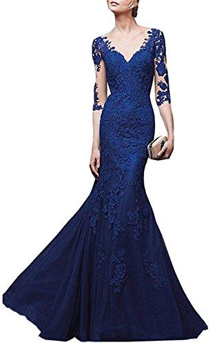 Emmani vestito da donna con scollo a V, lungo, modello sirena, con maniche trasparenti, per feste Sapphire 44