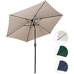 Sekey® sombrilla parasol para terraza jardín playa piscina patio diámetro 270 cm protector solar UV50+ crudo