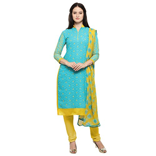 Rajnandini Women's Cotton Jacquard Embroidered Unstitched Salwar Suit(JOPLMF6036_Light Blue And Yellow_Free Size)