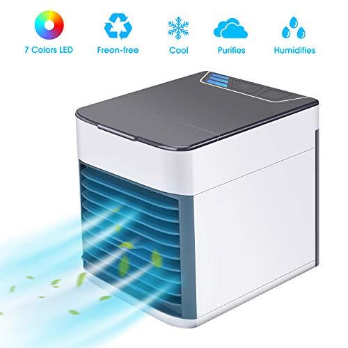 Air Cooler, Basein 3 in 1 mobile Klimaanlage, Luftbefeuchter und Luftreiniger, USB Mini Luftkühler mit Wasserkühlung, 3 einstellbare Geschwindigkeiten und 7 LED-Nachtlichter für Zuhause, Büro, Hotel