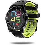 Pulsera Inteligente, Malloom GS8 impermeable GPS Smart Watch presión arterial ritmo cardíaco reloj para Android y IOS (Verde)