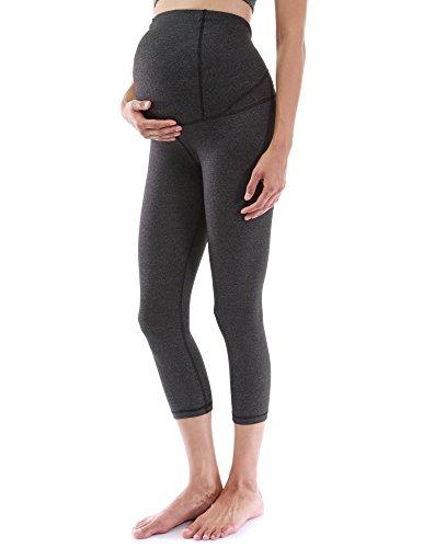 PattyBoutik Mama Formgebung Serie Mutterschaft Ernte Legging Yoga Hose (meliert dunkelgrau S 36/38) - Schwangerschaft-serie