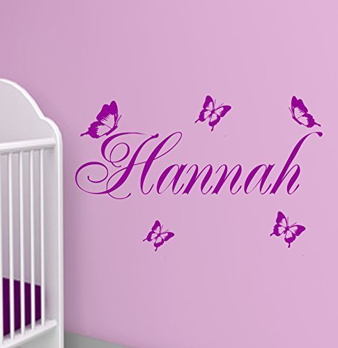 Wandschnörkel® Aufkleber HM~AA118 Kindernamen +Schmetterlinge Set ...
