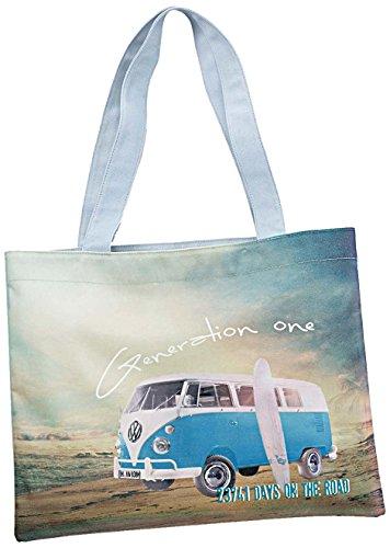 Original Volkswagen Strandtasche Tragetasche T1 Bulli VW Summer Edition Tasche blaugrau 000087317Q 8XP