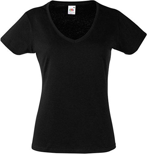 Damen V-Ausschnitt Kurzarm T-Shirt Lady-Fit V-Neck Shirt verschiedene Farben und Größen - Shirtarena Bündel Black