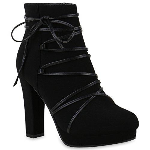Stiefelparadies Damen Ankle Boots Gefütterte High Heels Stiefeletten Stiletto Strass Zipper Veloursleder-Optik Schuhe Fransen Schleifen Flandell Schwarz Brooklyn