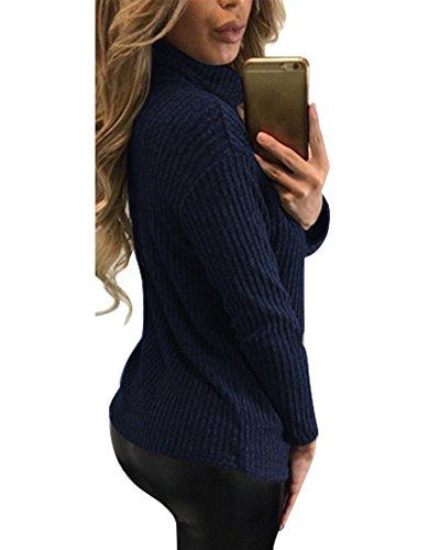 Femmes Tricoté Pull Ample Pull Manches Longues Tunique Sweater Bleu Marine
