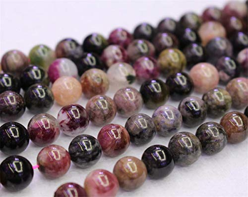 Perles de tourmaline multicolores naturelles, 4 mm, 6 mm, 8 mm, 10 mm, perles de tourmaline multicolores. 6mm,63pcs