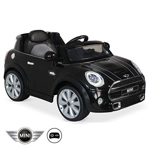 Mini Cooper - Voiture électrique 12 V 4 Ah, 1 Place, Cabriolet pour Enfants avec autoradio et télécommande (Noir)
