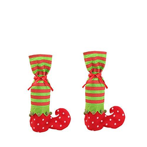 BulzEU 1 Paar Weihnachtsstrümpfe Socken Socken Socken Elfe Socken Rot Weinflasche Wrap Süßigkeiten Geschenk Halter Weihnachten Dekoration Weihnachten Ornamente Dekoration