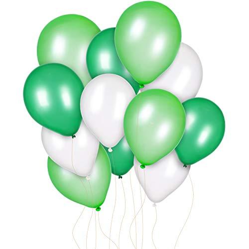Jovitec 300 Piezas 12 Pulgadas de Globos Blanco Verde Claro y Verde Oscuro para Decoración de Cumpleaños Boda Fiesta Primavera Fiesta de Dinosaurio Bienvenida a Bebé Cumpleaños Jurasico de la Jungla