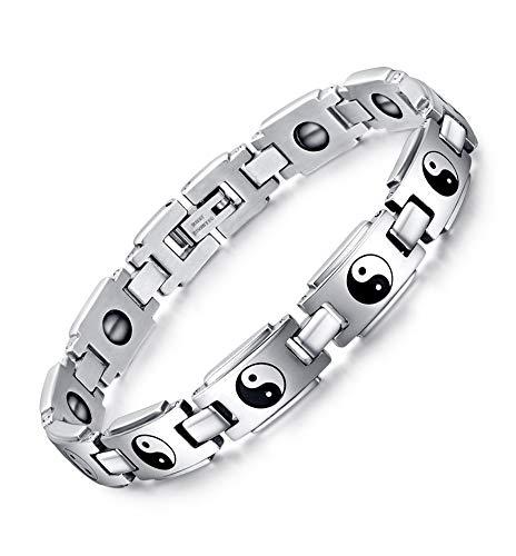 Joielavie Armband, mit Yin-Yang-Symbolen, aus Edelstahl, für Herren