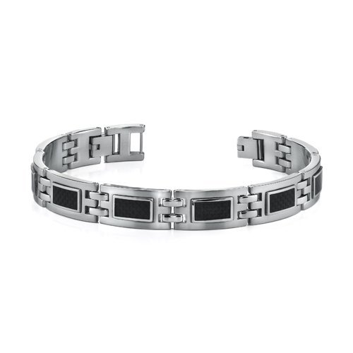 Peora Moderner Stil, Herren Edelstahl-Armband mit schwarzen Glanzpunkten aus Karbonfaser