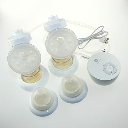 Double tire-lait électrique de Glorich pour l'allaitement maternel, matériaux PPSU d'Allemagne, certifié doublement de FDA et CE,avec porte de micro USB.Mode Simple/Double réglable de pompage (blanc)