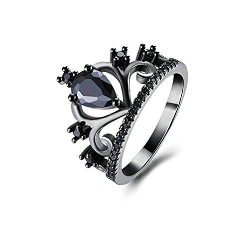 Beydodo Vergoldet Ringe Frauen Krone Tropfen Zirkonia Schwarz Schwarz Eherring Verlobungsringe Weihnachtsgeschenke