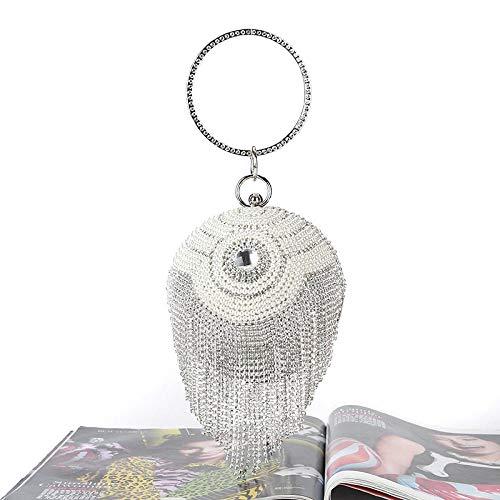 Furnace fire Sphärische Clutch Dinner Bag Diamant Armband New Diamond Handmade Beads Bankett Tasche Damen Diamant Armband Silber -