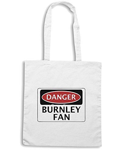 T-Shirtshock - Borsa Shopping WC0286 DANGER BURNLEY FAN, FOOTBALL FUNNY FAKE SAFETY SIGN Bianco