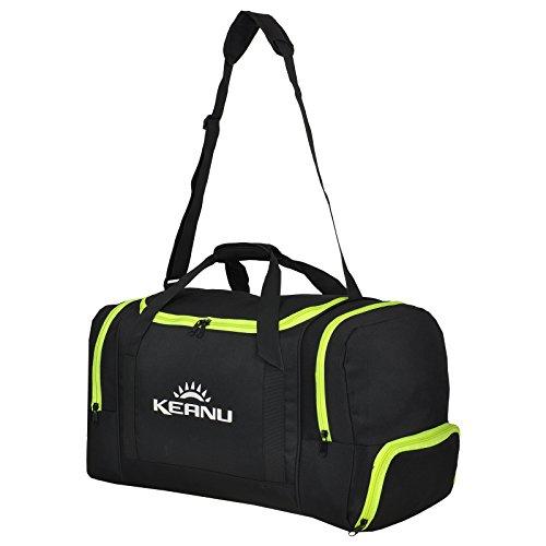 KEANU Praktische Sporttasche 60 Liter :: faltbar, Wäschefach, Wertfach Fitness Yoga Sauna :: Grosse multifunktionale Tasche für Gym Sport Reise Wellness :: Reisetasche (Auswahl) (Schwarz Neon Green)