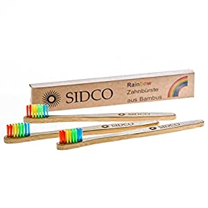 SIDCO ® 3 x Bambus Zahnbürste Sparset Bio Zahnreinigung vegan Bambuszahnbürste Rainbow für Kinder