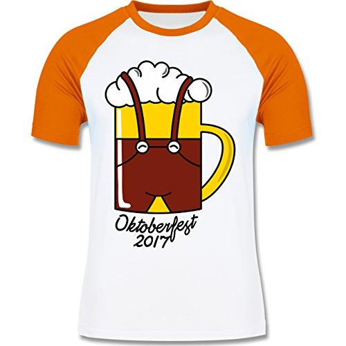 Oktoberfest Herren - Bierkrug mit Lederhose Oktoberfest 2017 - zweifarbiges Baseballshirt für Männer Weiß/Orange