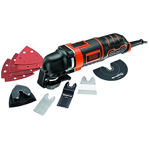 Black and Decker MT300KA-QS - Multiherramienta oscilante 300 W con 5 acoplamientos, 6 hojas de lija y maletín (300