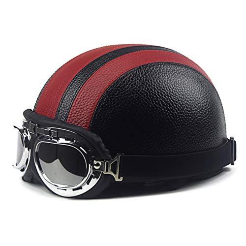 radHelm Synthetisches Leder offene Gesicht Abnehmbare Helme Visor Brille Verstellbaren farbigen Helm ()