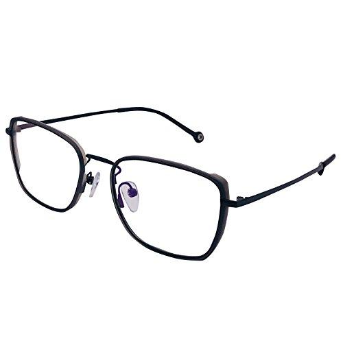 XYAS Titanium Glasses For Man Unisex Super Light Retro Geek Fashion Cool Eyeglass Clear Lens Transparent TR Front (Black-Grey)
