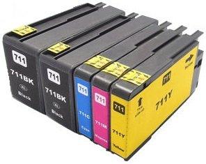 Printing Pleasure 5 Cartuchos de Tinta compatibles para HP Designjet T120, T520   Reemplazo para HP 711XL, CZ129A, CZ130A, CZ131A, CZ132A