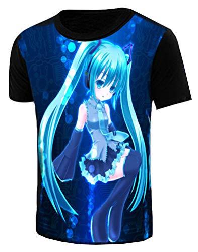 Cosstars Hatsune Miku Anime Kurzärmlig T-Shirt Cosplay Kostüm Leuchtend Top Tees Leuchtend 1 XXL (Hatsune Miku Anime Kostüm)