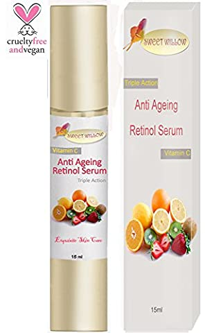 Sweet Willow® Anti Ageing Retinol Serum. Organic Vitamin C Skin Serum Provides Powerful Nourishment and Anti Ageing Benefits for a Youthful Complexion. Anti Wrinkle Retinol Serum Bathes Dry Skin with an Infusion of Oils, Fruit Extract and Berries. GUARANTEED (15ml)