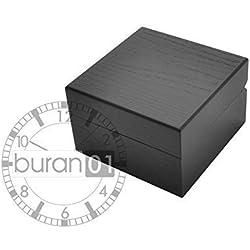 VK von Buran01.com Hochwertige Uhrenbox SCHWARZ aus Holz für eine Uhr Geschenkbox