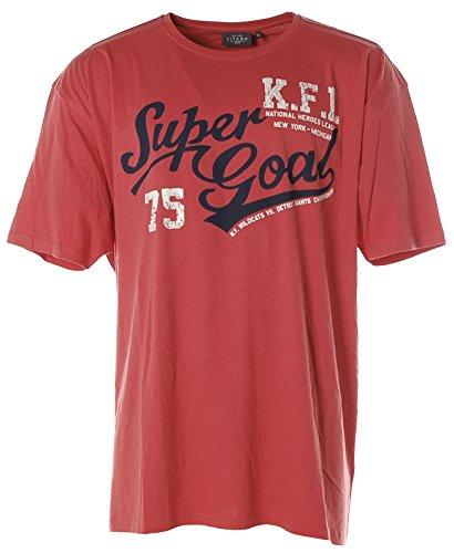 Kitaro Herren Kurzarm Shirt Rundhals -K.F.L. Super Goal- Red Clay