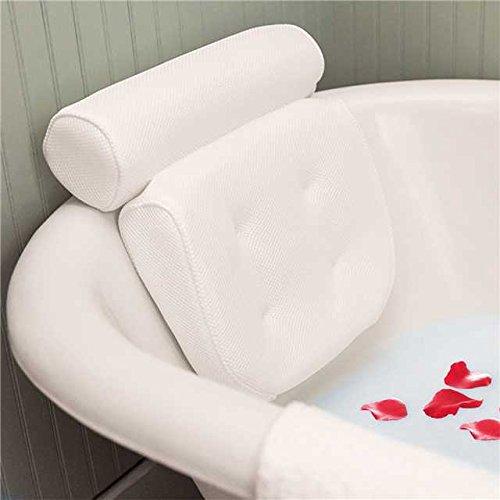 Badewannenkissen Spa, essort Badewannenkissen mit Saugnäpfen, ergonomische Home Spa Kopfstütze für Badewanne, Whirlpool, Whirlpool, Home Spa 38 X 36 X 8,5 cm weiß