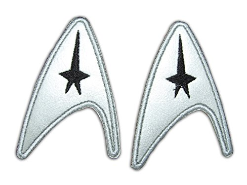 OneKool Star Trek Command Insignia - Classic Movie Logo, 2 Silver Leatherette, Iron-On Patches, Aufnäher Bügelbild, Iron on Patches Applikation, New, Set of 2 by (Insignia Trek Star Patch)