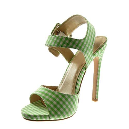 Angkorly Scarpe Moda Sandali Scarpe Decollete con Cinturino Alla Caviglia Stiletto Donna a Scacchi Tanga Fibbia Tacco Stiletto Alto 13 cm Verde