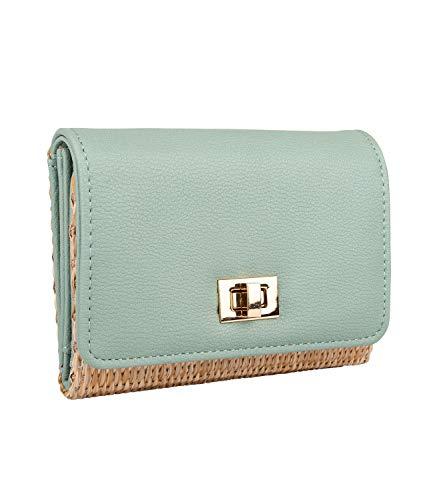 SIX Damen Portemonnaie, Geldbörse aus geflochtenem Bast mit Pastellfarbener türkiser Klappe aus veganem Leder mit goldenen Details (703-591)